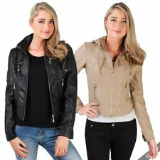 Faux Leather Motorcycle Machine Washable Coats & Jackets for Women