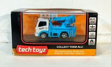 TECH TOYZ R/C CAR RECHARGABLE WIRELESS white and blue utility truck TRUCK 1/64