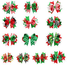 10pcs Christmas Boutique Hair Bows Girls Baby Kids Infant Grosgrain Hair Clips