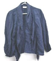 Chico's Women's Size 2 Long Sleeve 100% Linen Open Front Cardigan Blue