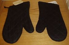 (Lot of 2) Black Oven Mits Pot Holders Holder Free Shipping
