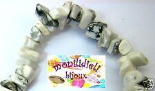 BIGIOTTERIA PERLINE - pietre dure - imitazione turchese bianco 80 cm