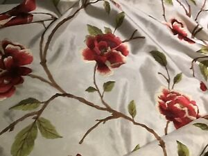 Embroidered Faux silk light upholstery fabric red flower 150cm or 58 inches wide