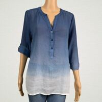 Chico's Dip Dye Ombre Roll Tab Sleeve Popover Shirt Top 1 MEDIUM 8 10 Blue White