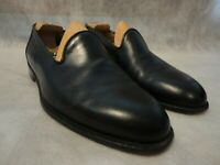 WALTER STEIGER Black Leather Slip-on Opera Pumps Loafers 7.5 Handmade in Italy
