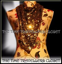 Topshop Kate Moss Grey Net Mesh Tarnished Square Gold Sequin Triangular Scarf