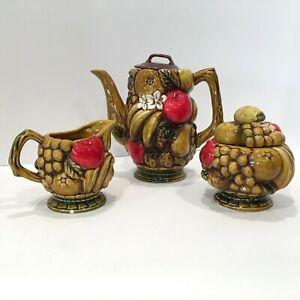 Vintage 1970s Ardco Harvest Fruit Design Coffee Tea Sugar Creamer Set