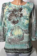 GERRY WEBER Pullover Gr. 36 schwarz-grün-gelb Batik Muster Damen Pullover