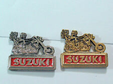 "Vintage Suzuki ""2 Riders"" Motorcycle Pin (Choice of 1--Silver or Gold tone)"