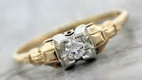 Antique Art Deco 1920s Estate 14K Yellow Gold 0.12ctw Diamond Engagement Ring