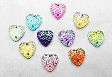New 50pcs DIY AB Heart  Flatback Beads Scrapbooking Sewing Craft Mixed color