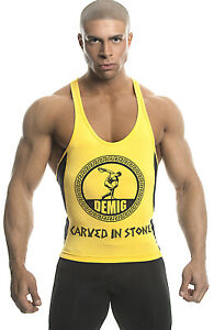 DEMIG Mens Yellow Tank Top Bamboo Fitted Graphic Stringer DRIFIT Racerback
