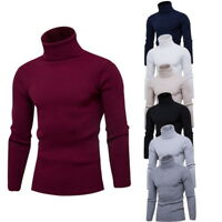 Men Autumn Winter Pullover High Collarer Slim Fit Knitted Sweater LOVE