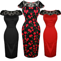 Hearts & Roses London Vintage Lace Shoulder Retro 1950s Fitted Pencil Dress UK