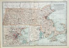 Antique Map Of Massachusetts 1903 Barnstable Dukes Boston Essex Worcester USA