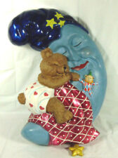 Radko Blue Moon With Bear Sleeping Wall Hanging Pull Star To Play Music
