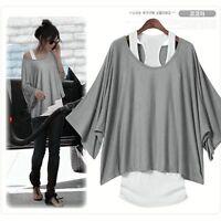 2 in 1 Damen Longshirt+Tunika T-Shirt Bluse Shirt Top+ Vest Batwing Tanktops