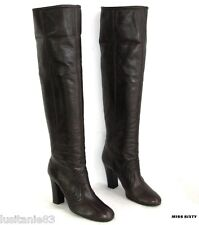 MISS SIXTY BOOTS HEELS 10 CM LEGGINGS ALL BROWN LEATHER 38 ITL EXCELLENT