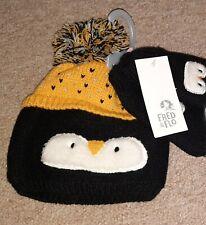 BNWT baby boys girls winter Christmas Penguin hat & Mittens 12-24 12-18