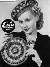 KNITTING PATTERN 1940s ladies hat Beret & Bag circular Fair Isle Gift COPY 973