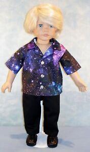 "18"" Doll Clothes Galaxy on Black Boys Shirt & Black Pants Outfit by Jane Ellen"