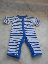 NB Baby Girl Carter's Blue White Pink Striped w/ Crab Footless Snap Sleeper