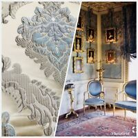 Designer Brocade Satin Fabric - Eggshell Blue Ivory  Floral Upholstery Damask