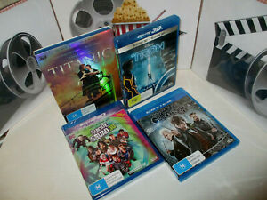3D BLU-RAY DVD MOVIES VARIOUS TITLES (NEW) TITANIC, TRON, SUICIDE SQUAD, ETC