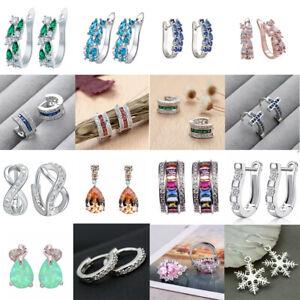 925 Silver Plated Earrings Crystal Huggie Dangle Hoop Wedding Bridal Ear Studs