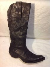 Piston Black Knee High Leather Boots Size 36