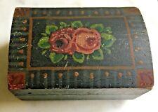 "New ListingMiniature 19th C. Antique Paint Decorated 3"" Dome Top Trinket Box Folk Art Aafa*"