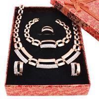 Women Crystal Wedding Jewelry Sets Necklace Bracelet Earring Rings Jewelry Boxes
