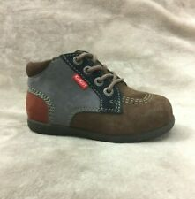 New $80 KICKERS Baby Boys Toddler Winter Shoes Boots LEATHER Size 6 USA/22 EURO