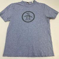 Penguin T Shirt Men's Medium Short Sleeve Blue Heather Crew Neck 100% Cotton
