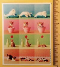 Vtg Hallmark Spring Kitten Cat Kitty Feline Pet Sticker Sheet~Flower Pot~Cute!