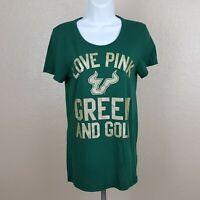 Pink Victoria's Secret T-shirt Size Medium Green And Gold A18