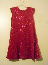 Girls Deep Pink Velour Holiday/Christmas Dress Sparkles Size 10- 12 EUC!!!