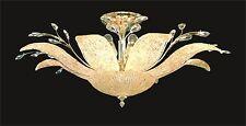 "10-Light Floral SEMI-FLUSH MOUNT +Murano Glass; GOLD Ceiling Fixture D38"" x H18"""