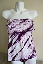 NWT Lucky Brand Swimsuit Tie - Dye Bandeau Tankini Plum Berry S Retail $78