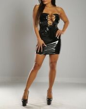 Connie's Shiny Black Stretch fit Tube Club Dress with lace up chest & Zip Back M
