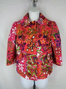 Etcetera Jacket Size 4 Floral Swing Pink Popart New