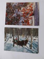 POSTCARDS VERMONT MAPLE SUGARING & AMERICAS AUTUMN SHOWPLACE LOT OF 2