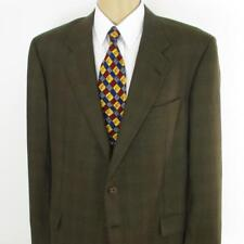 44 L Hickey Freeman Brown Plaid Tweed Wool 2 Btn Mens Jacket Sport Coat Blazer