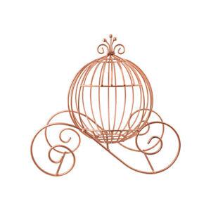 Metal Cinderella Pumpkin Carriage Decoration, Rose Gold, 12-1/2-Inch