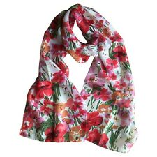 Peony 100% Silk Poppy Scarf Cream Red Flower Floral Poppies Scarves Gift Green
