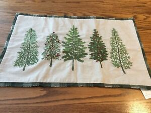 Pottery Barn Forest Embroidered TREES lumbar Christmas pillow cover 16x26 NWT