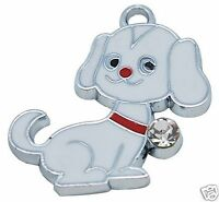 5 x Dog Puppy Silver Plated Enamel Pendant Charms Rhinestone
