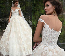 New White/Ivory Lace Wedding Dress Ball Gown Custom Size 2 4 6 8 10 12 14 16 18+
