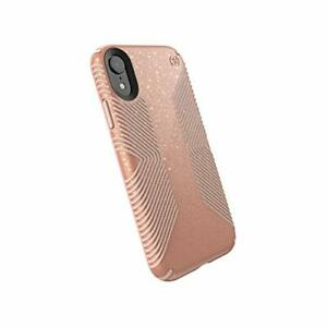 Speck Presidio Grip+Glitter iPhone XR Case, Bella Pink/Gold Glitter/Dahlia Peach