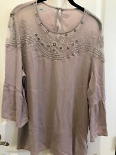Evening blouse, taupe colored with beads and lace. flared 3/4 sleeves. Size XL